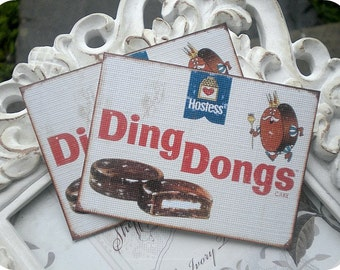 Vintage Hostess Ding Dong Cards (6) Vintage Style Tags-Shabby Gift Tags-Food Gift Tags-Treat Bag Tags-Note Card-Favor Tags-Retro Gift Tags