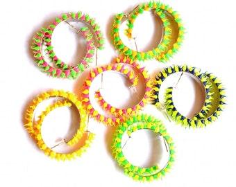 Multi-colored Neon Vintage Stud Earrings - Spiky Rainbow - Fluorescent, Disco 90's, Funky Jewelry