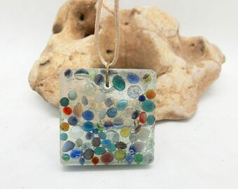 Clear Resin Multi color Pebble Necklace, leather cord / Colorful / Nature / resin jewelry