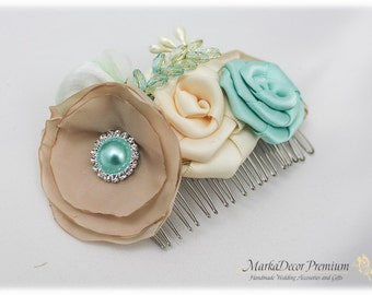 Hair Comb with Handmade Flowers, my Stamen's Accent and Cluster in Champagne, Tan, Aqua (Mint) and Ivory
