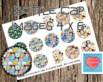 "Tsum tsum pattern printables  4x6 - 1"" circles, bottle cap images, stickers"