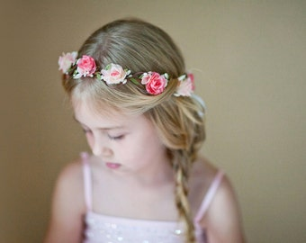 flower girl crown, pink and cream flower crown, wedding headpiece, bridal hairpiece, flower girl headband, girls hairbands, floral hairpiece