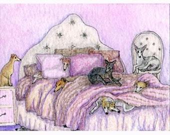 Pyjama de chien lévrier Whippet tirage 8 x 10