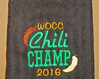 Embroidered Kitchen Towel - Chili Champ- Peppers, Chili, Personalized, Dated