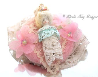 Marie Antoinette Inspired Art Doll Brooch Jewelry Sugary Sweet Assemblage Art Doll  Jewelry Pin Lorelie Kay Original