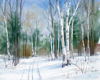 """Winter landscape painting, watercolor painting """"Birch Trail"""" giclee print 10x10in."""