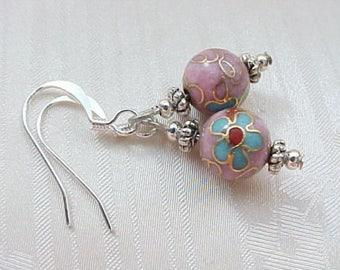 Minimalist Earrings Dainty Earrings Cloisonne Earrings Pink Earrings Asian Earrings Geisha Earrings Handmade Gifts for Tween Girls Earrings