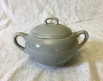 Vintage Mid Century Modern Gray Covered Sugar Bowl