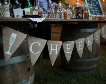 Burlap Wedding Bar / Cheers Bunting / Banner- Rustic Wedding Decor