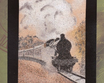 Natural sand painting 24x18 cm Train