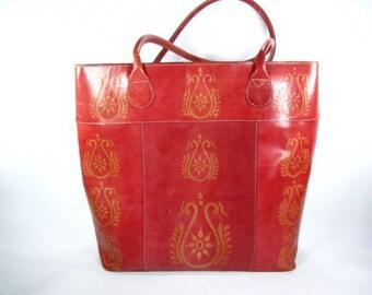 Vintage purse,red leather shoulder bag,Indian, Chico ,fashion purse,shopping bag,large purse,