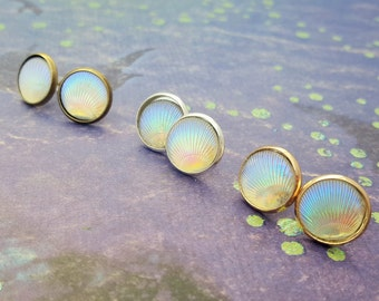 Shell Earrings, Beach Studs, Resin Shells, Shell Jewellery, Beach Jewelry, Iridescent Colours, Earring Studs, Casual Earrings, Ocean Jewelry