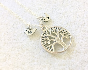 Personalized Tree of life necklace tree of life gift mothers necklace mother gift tree bird necklace tree of life jewelry mom birthday gift