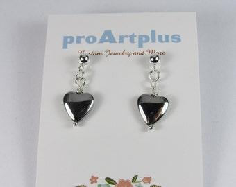 Hematite Heart Earrings, Heart Earrings, Stone Earrings