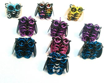 Chainmaille owl pendants (for necklaces, keychains, phone charms)