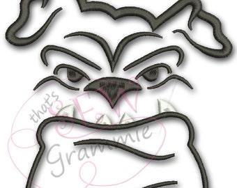 Bulldog Face Embroidery Design