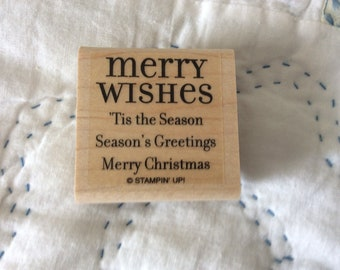 Stamp for Scrapbooking or Card Making- Merry Wishes -Rubber Stamp