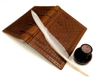 Medieval Style Leather Journal with Calligraphy Quill