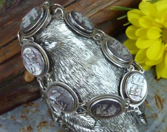 MEXICAN AZTEC ABALONE Vintage Sterling Cameo Bracelet