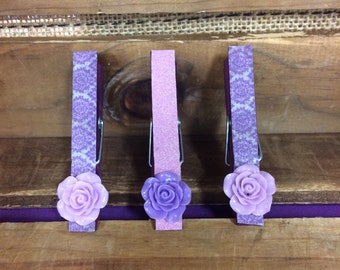 Set of 3 decorated clothespins, clothespin clips, photo display clothespins/clips/pegs, clips for twine, banner clips, magnetic clips