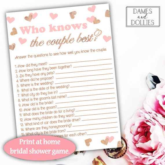 Pink And Rose Gold Bridal Shower Games Who Knows The Couple