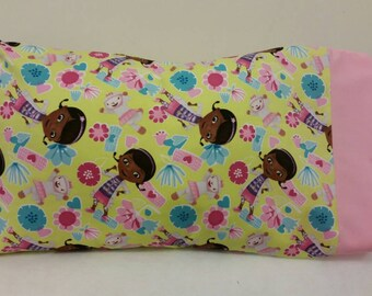 STANDARD Size Personalized Pillow Case made with Doc McStuffins Fabric