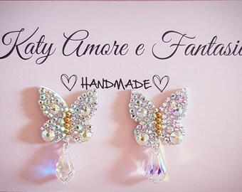 Earrings Wedding White Butterfly Swarovski