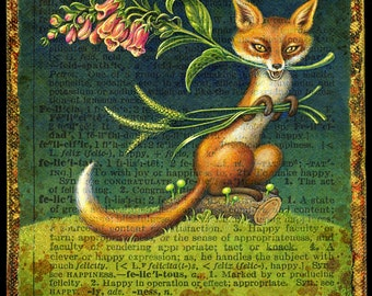 Woodland fox art print, Felicitous: Fantasy fox with flowers, grass & mushrooms. Alphabet Letter F, A Word A Day painting, Wildlife art