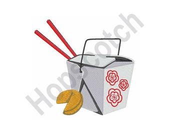 Chinese Food Container - Machine Embroidery Design, Chinese Takeout