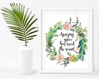 Amazing Grace, Hymn Print, Scripture Printable,Christian Wall Art, Digital Download, Home Decor, Wall Decor