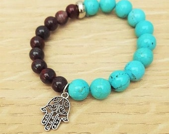 Teal Magnesite and Brecciated Jasper Gemstone Bracelet, Gemstone Bracelet, Natural Bracelet, Stretchy Bracelet, Calming Bracelet, Relaxing