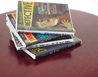 4 Miniature  'DETECTIVE' MYSTERY  Magazines  -  Dollhouse 1/6    1/12    1/24    1/48  Play scale miniature