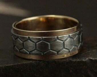 Men's Two Tone Ring Genus Apis Ring Men's Wedding Band Honeycomb Ring Wide Mens Band Bee Hive Ring DNA Ring Helix Band Bee Ring Beehive Ring