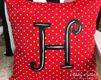 """18"""" Custom - Initial Pillow Red/White Dot"""