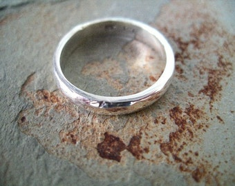 4mm Hammered Sterling Silver Wedding Band RF399