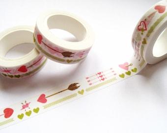 Doodle Heart Arrows Washi Tape - Planner Washi Tape - Pink Green Heart Arrows 10 mt - Decorative Paper Tape - Cute Heart Arrows Planner Tape