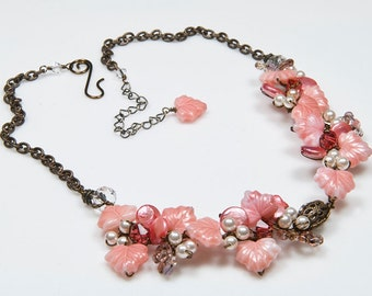 Peach Beaded Necklace, Flower Necklace, Garden Necklace,  Nature Jewelry  twisted wire jewelry