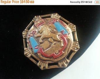 ON SALE Lion Shield Brooch, 1950's 1960's Vintage Heraldic Lion Crest Crown Pin, Shield Repousse Enamel Brooch
