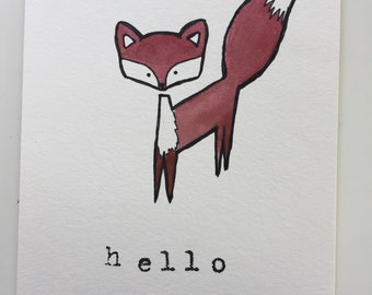 Hello fox original watercolor hand stamped x2