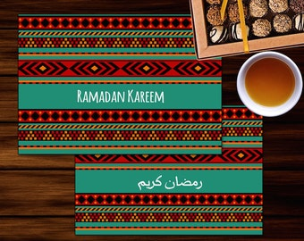 Ramadan Kareem Set of 2 Greeting Cards / Invitations   Arabic - English Islamic Printables   5.5x4in (folded) Instant Download   Janna Love