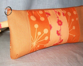 Tangerine and Orange Wristlet Clutch with Pieced Front with Free Shipping