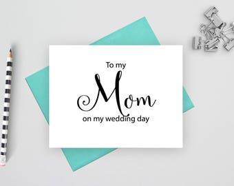 To my mom on my wedding day card, folded wedding cards, wedding stationery, folded note cards,  wedding stationary, wedding note cards