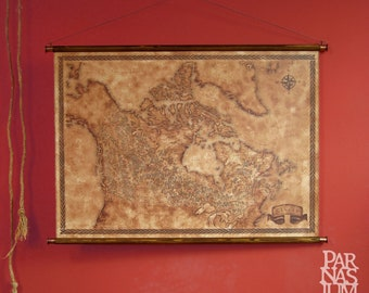 "Fantasy styled map of Canada, pull down canvas Canada map, 85 x 61 cm / 33.5"" x 24"""