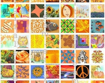 Mostly Orange Inchies Digital Collage Sheet 1x1 Inch Squares 63 Different Images Scrapbooking
