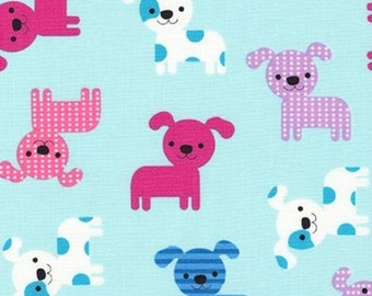 """END OF BOLT- 18""""x44"""" of Puppies on Aqua from Robert Kaufman's Urban Zoologie Collection by Ann Kelle"""