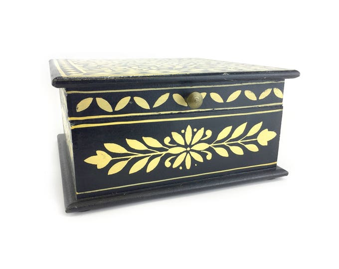 Black Jewelry Box - Solid Wood - Customized Earring Holder - Double Layer Inserts