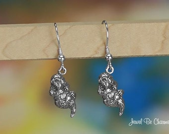Sterling Silver Otter Earrings Pierced Fishhook Earwires Solid .925