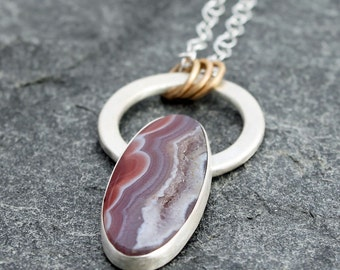 """agate necklace w/ sterling silver & gold filled accents, agua nueva agate, waves, druzy agate, OOAK, April June birthstone, oval, 18"""" chain"""