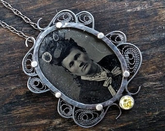 Victorian Lady with the Flower Hat Tintype Necklace One of a Kind