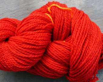 worsted weight yarn: Apple Red 2 ply Worsted Wool Yarn 220 yard skein